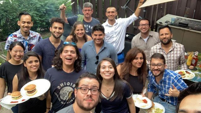 Students in the ACS in International Business Management Class say goodbye to Simran in a class BBQ